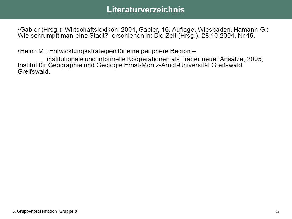 3. Gruppenpräsentation Gruppe 832 Literaturverzeichnis Gabler (Hrsg.): Wirtschaftslexikon, 2004, Gabler, 16. Auflage, Wiesbaden. Hamann G.: Wie schrum