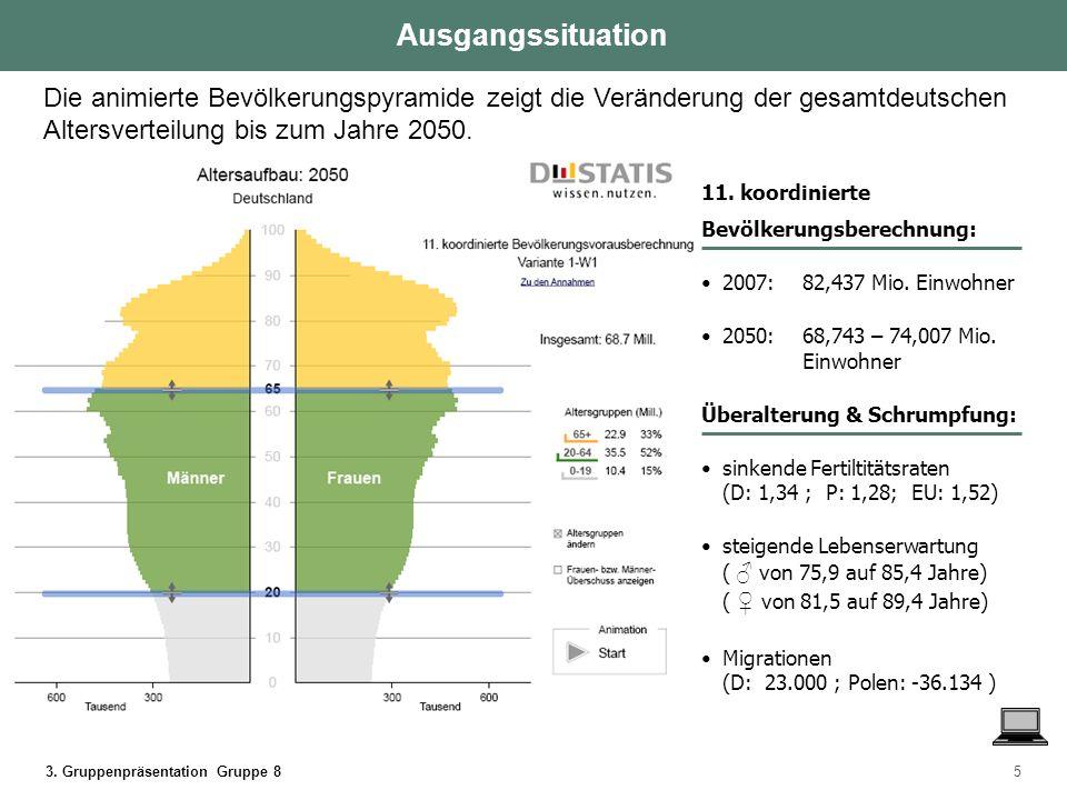 3. Gruppenpräsentation Gruppe 85 Die animierte Bevölkerungspyramide zeigt die Veränderung der gesamtdeutschen Altersverteilung bis zum Jahre 2050. Aus