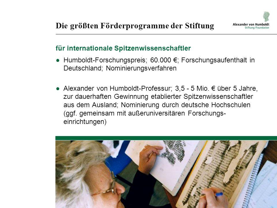 Die größten Förderprogramme der Stiftung für internationale Spitzenwissenschaftler Humboldt-Forschungspreis; 60.000 ; Forschungsaufenthalt in Deutschland; Nominierungsverfahren Alexander von Humboldt-Professur; 3,5 - 5 Mio.