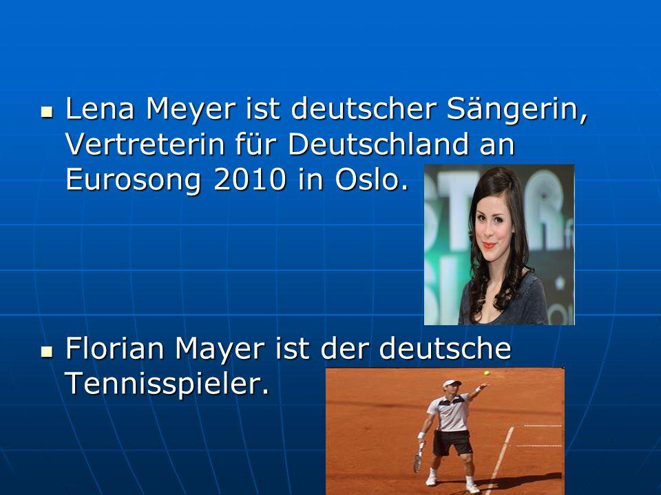 Lena Meyer ist deutscher Sängerin, Vertreterin für Deutschland an Eurosong 2010 in Oslo. Lena Meyer ist deutscher Sängerin, Vertreterin für Deutschlan