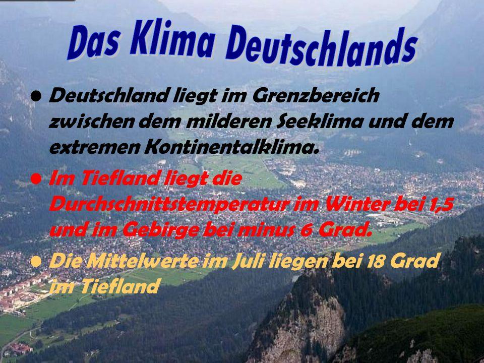 Deutschland liegt im Grenzbereich zwischen dem milderen Seeklima und dem extremen Kontinentalklima. Im Tiefland liegt die Durchschnittstemperatur im W