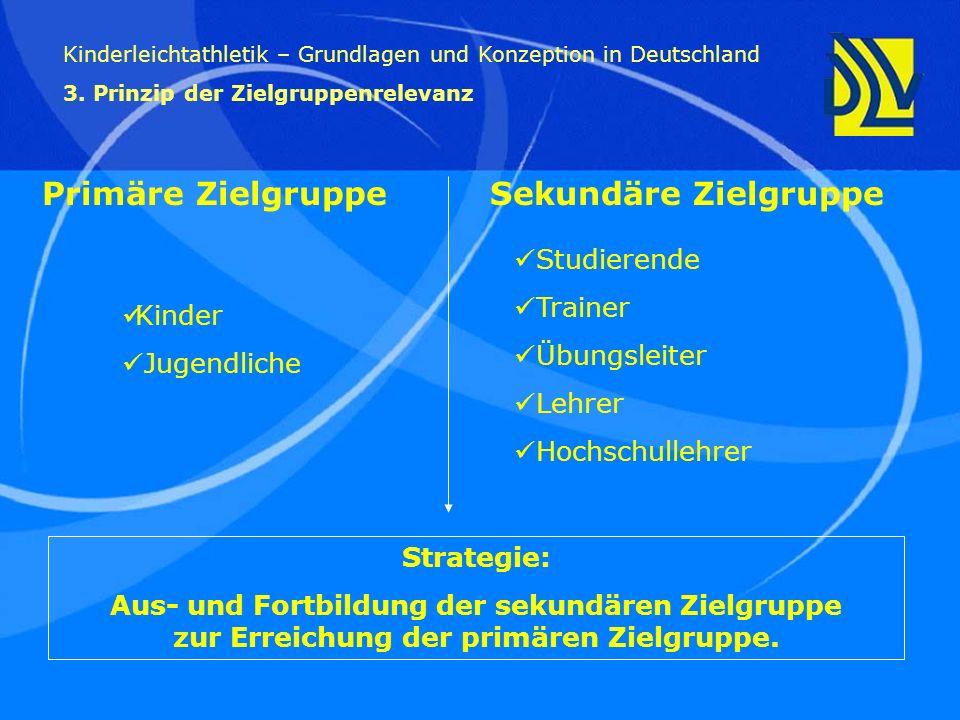 Studierende Trainer Übungsleiter Lehrer Hochschullehrer Kinderleichtathletik – Grundlagen und Konzeption in Deutschland 3. Prinzip der Zielgruppenrele
