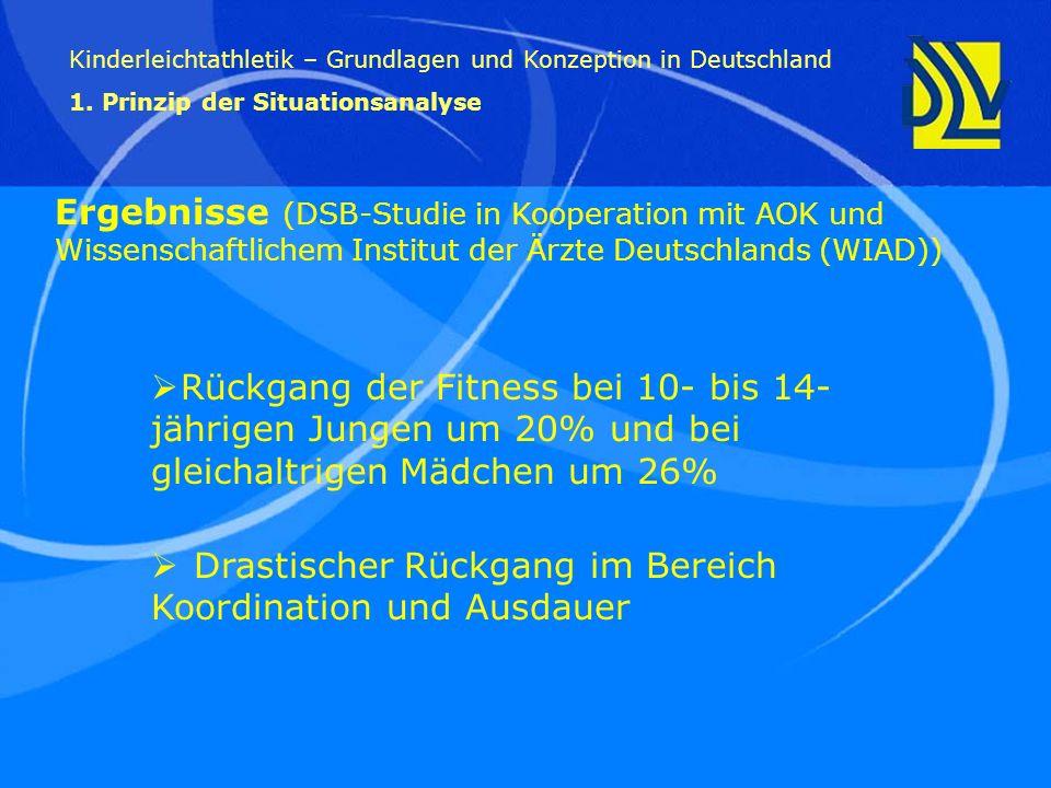 Ergebnisse (DSB-Studie in Kooperation mit AOK und Wissenschaftlichem Institut der Ärzte Deutschlands (WIAD)) Kinderleichtathletik – Grundlagen und Kon