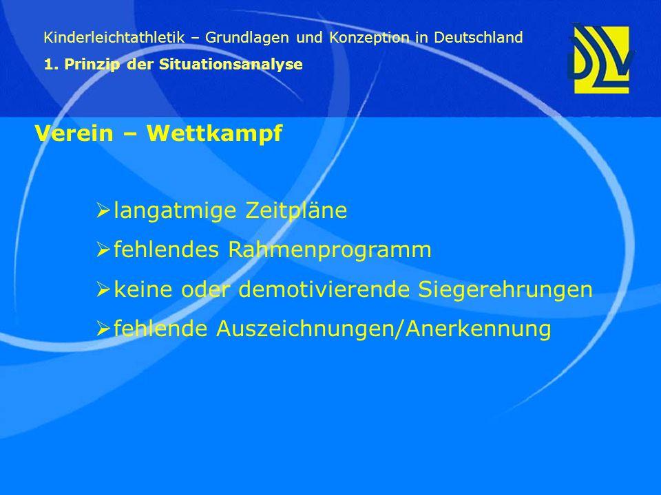 langatmige Zeitpläne fehlendes Rahmenprogramm keine oder demotivierende Siegerehrungen fehlende Auszeichnungen/Anerkennung Kinderleichtathletik – Grun