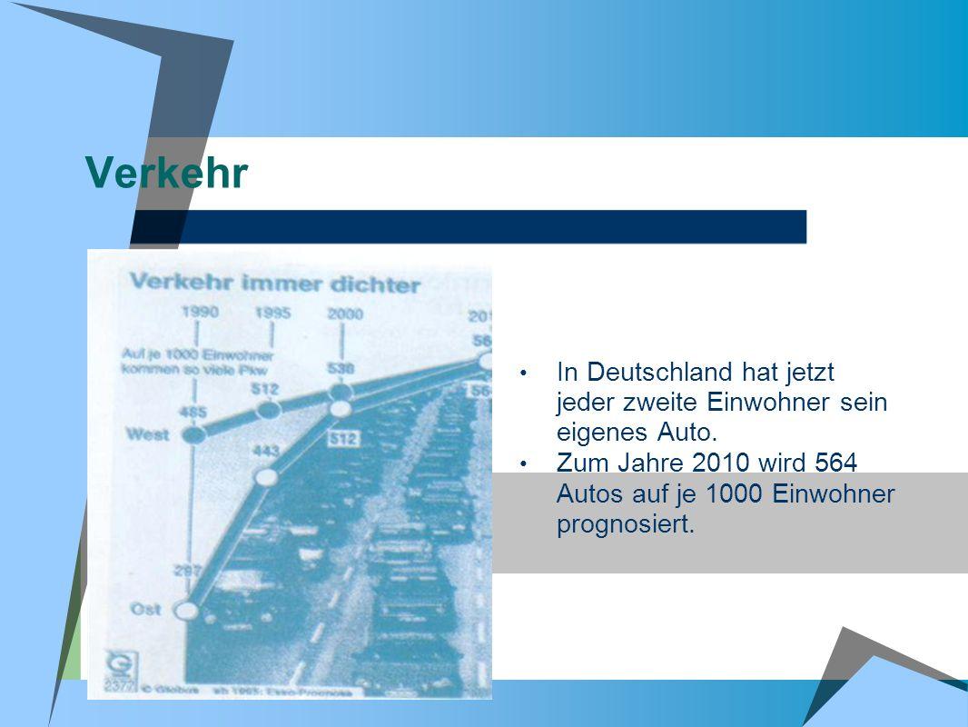 Verkehr In Deutschland hat jetzt jeder zweite Einwohner sein eigenes Auto. Zum Jahre 2010 wird 564 Autos auf je 1000 Einwohner prognosiert.