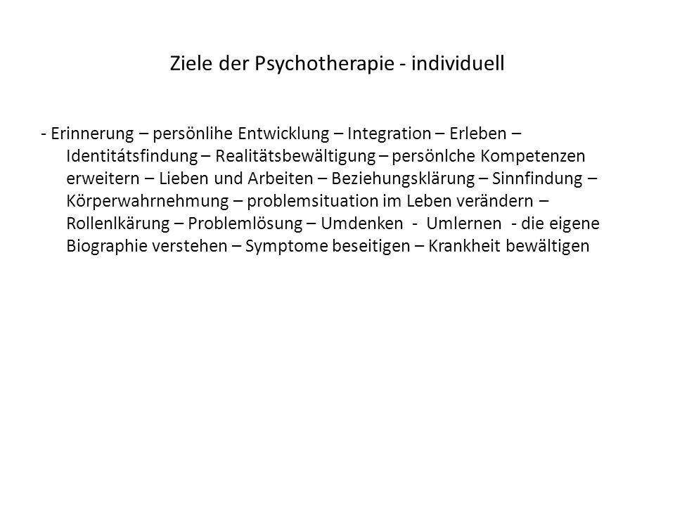 Ziele der Psychotherapie - individuell - Erinnerung – persönlihe Entwicklung – Integration – Erleben – Identitátsfindung – Realitätsbewältigung – pers