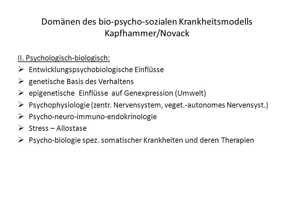 Domänen des bio-psycho-sozialen Krankheitsmodells Kapfhammer/Novack II. Psychologisch-biologisch: Entwicklungspsychobiologische Einflüsse genetische B