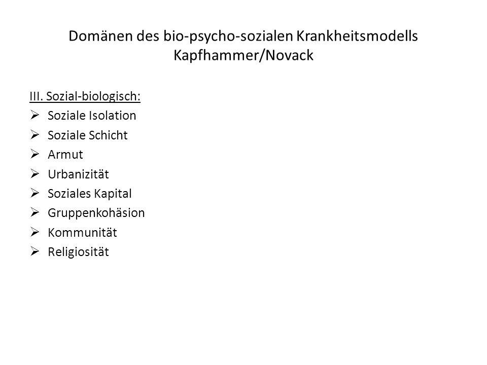 Domänen des bio-psycho-sozialen Krankheitsmodells Kapfhammer/Novack III. Sozial-biologisch: Soziale Isolation Soziale Schicht Armut Urbanizität Sozial