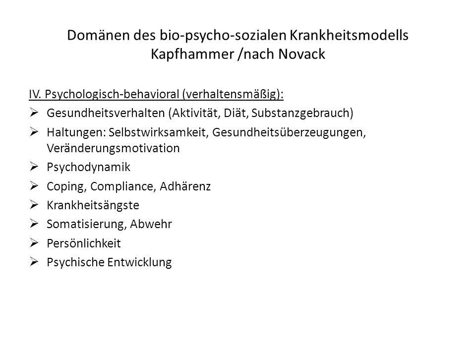 Domänen des bio-psycho-sozialen Krankheitsmodells Kapfhammer /nach Novack IV. Psychologisch-behavioral (verhaltensmäßig): Gesundheitsverhalten (Aktivi