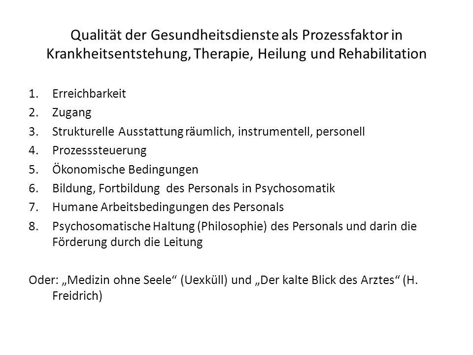 Qualität der Gesundheitsdienste als Prozessfaktor in Krankheitsentstehung, Therapie, Heilung und Rehabilitation 1.Erreichbarkeit 2.Zugang 3.Strukturel