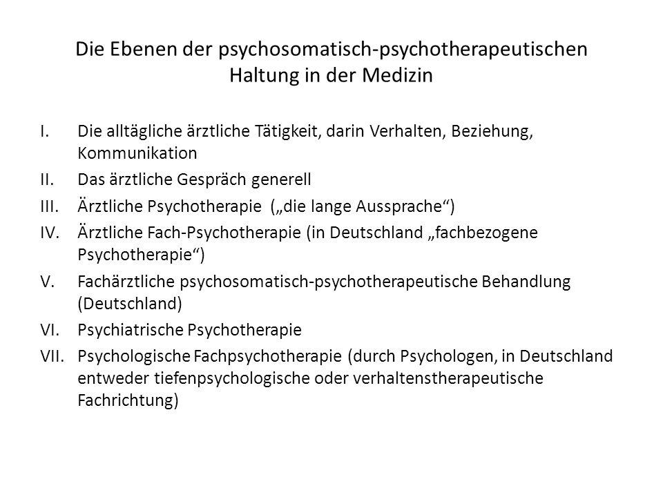 Die Ebenen der psychosomatisch-psychotherapeutischen Haltung in der Medizin I.Die alltägliche ärztliche Tätigkeit, darin Verhalten, Beziehung, Kommuni
