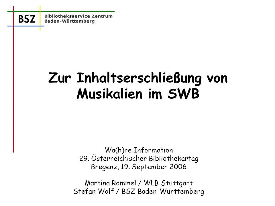 M.Rommel/S.Wolf Inhaltserschließung von Musikalien2 Sacherschließung Beispiel SWB 25% RSWK / 12% RVK / 9% DDC Beispiel BVB 39% RSWK / 49% Notationen (RVK) Beispiel GBV 7% RSWK / 7% BK / 3% DDC / 4% LCC Daneben: LCC, UDK, Sachgruppen der DNB, MeSH, Schlagwörter der DDB vor 1986 etc.