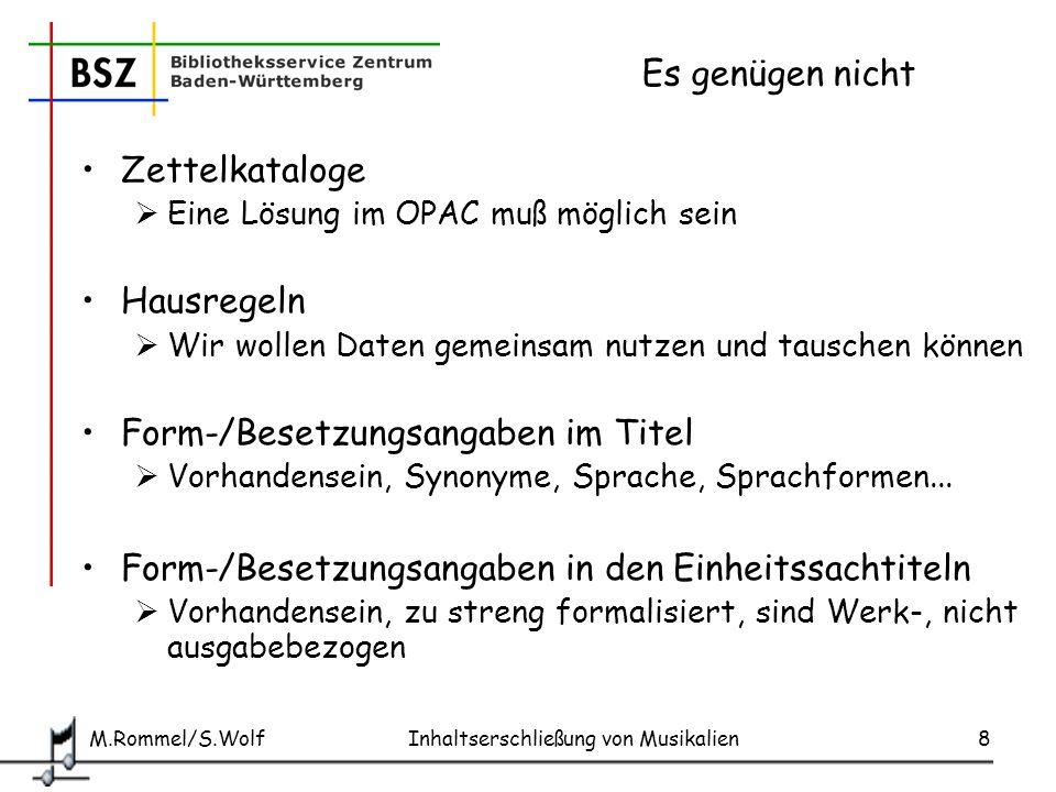 M.Rommel/S.Wolf Inhaltserschließung von Musikalien19 SWB: Beispiel