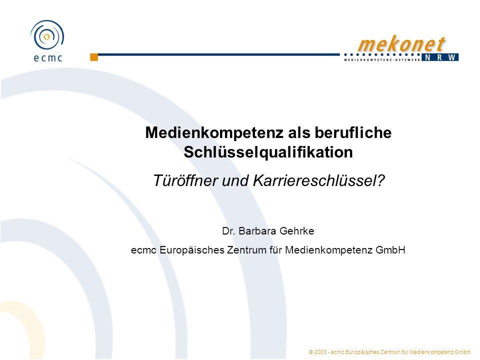 © 2003 - ecmc Europäisches Zentrum für Medienkompetenz GmbH Am häufigsten genannte Schlüsselqualifikationen (Prozentangaben) Quelle: Qualifikationsentwicklung online – Stellenanzeigenanalyse 2001.