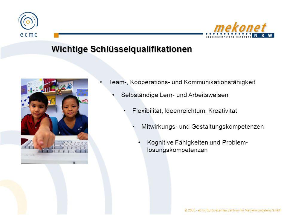 © 2003 - ecmc Europäisches Zentrum für Medienkompetenz GmbH Wichtige Schlüsselqualifikationen Team-, Kooperations- und Kommunikationsfähigkeit Selbstä