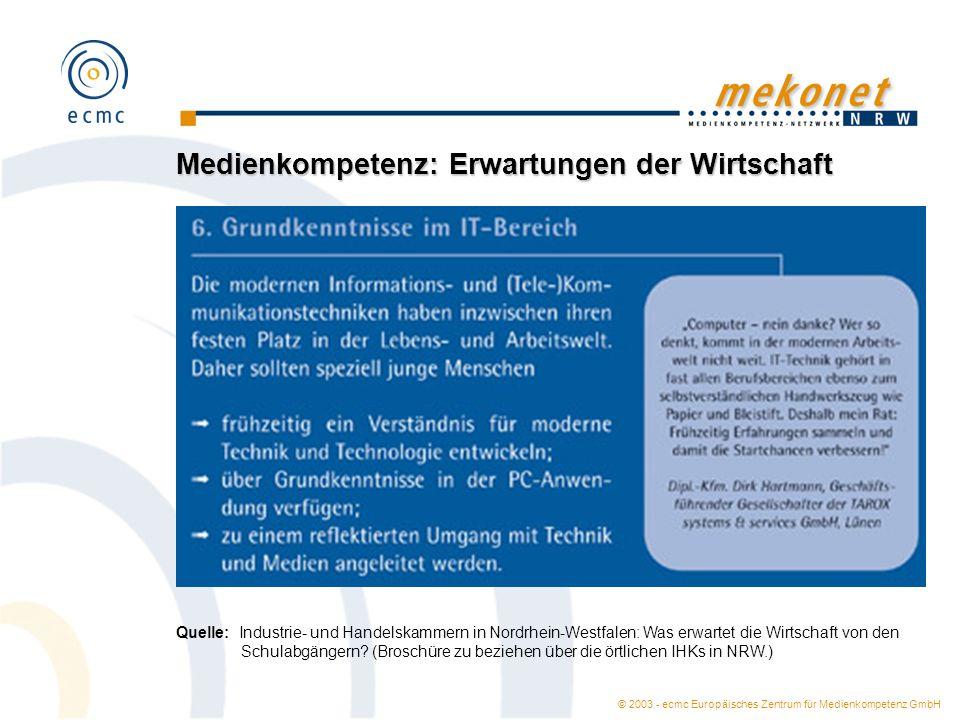 © 2003 - ecmc Europäisches Zentrum für Medienkompetenz GmbH Medienkompetenz: Erwartungen der Wirtschaft Quelle: Industrie- und Handelskammern in Nordrhein-Westfalen: Was erwartet die Wirtschaft von den Schulabgängern.