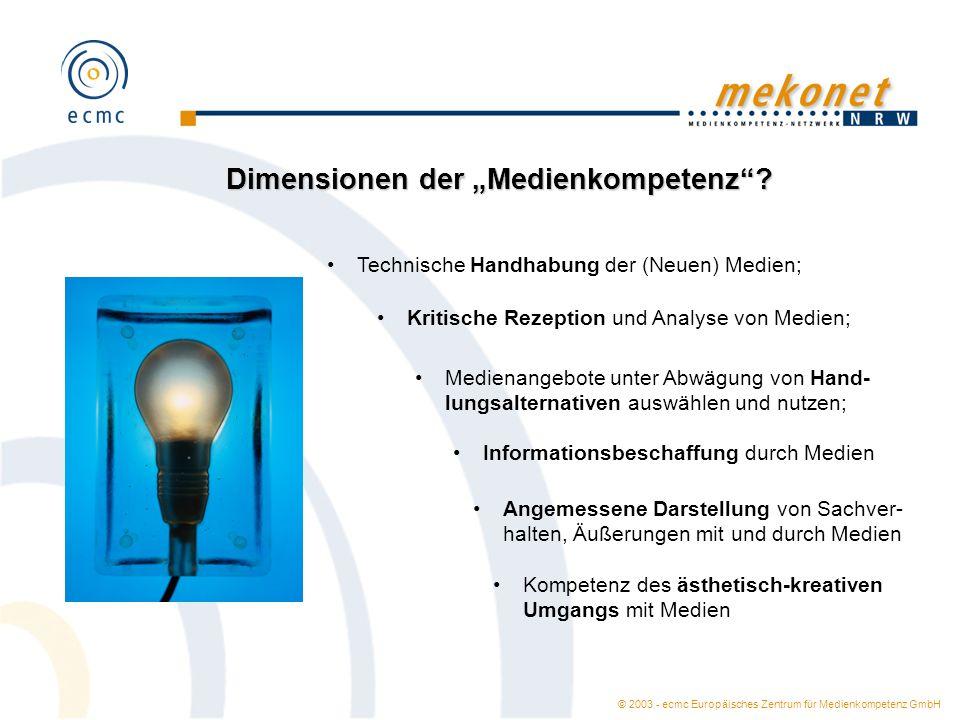 © 2003 - ecmc Europäisches Zentrum für Medienkompetenz GmbH Dimensionen der Medienkompetenz? Technische Handhabung der (Neuen) Medien; Kritische Rezep