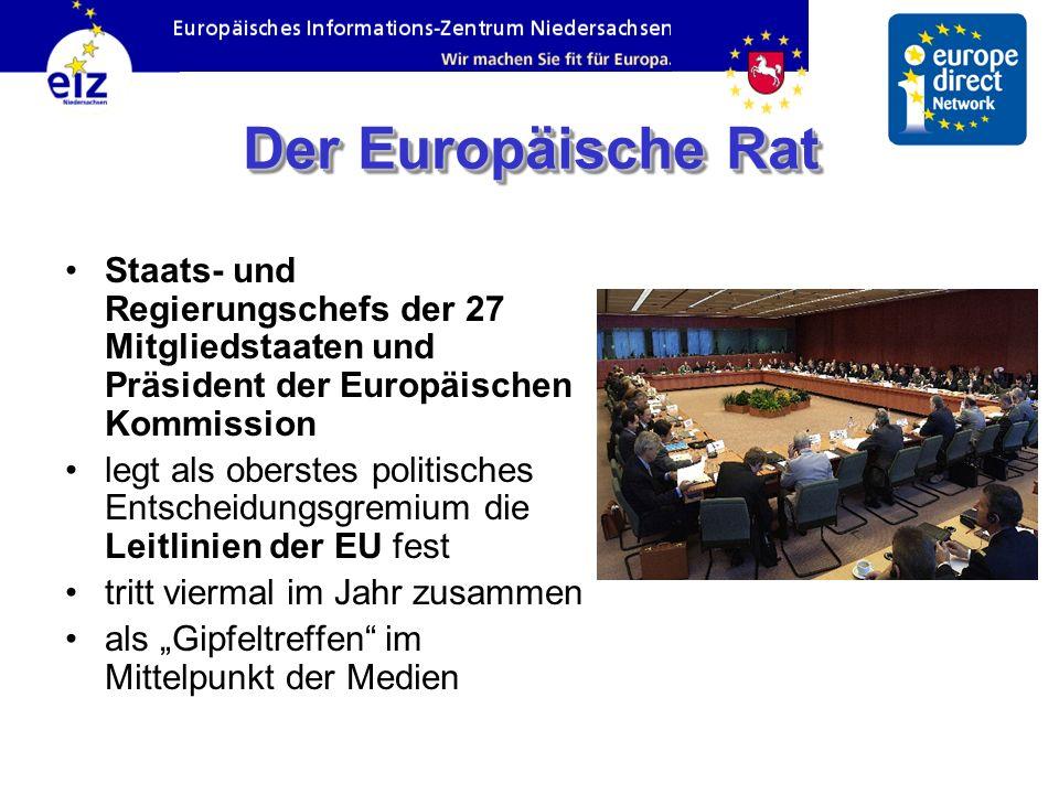 Der Europäische Rat Staats- und Regierungschefs der 27 Mitgliedstaaten und Präsident der Europäischen Kommission legt als oberstes politisches Entscheidungsgremium die Leitlinien der EU fest tritt viermal im Jahr zusammen als Gipfeltreffen im Mittelpunkt der Medien