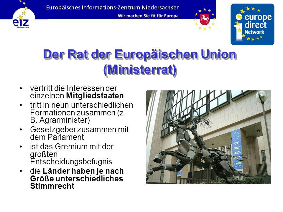 Der Rat der Europäischen Union (Ministerrat) vertritt die Interessen der einzelnen Mitgliedstaaten tritt in neun unterschiedlichen Formationen zusamme