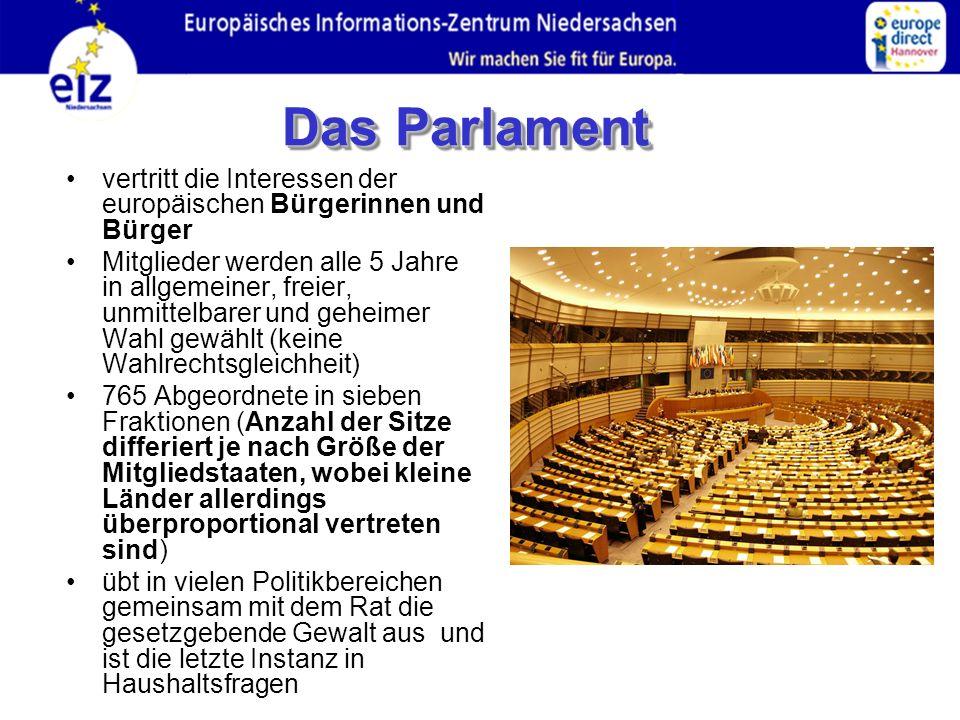 vertritt die Interessen der europäischen Bürgerinnen und Bürger Mitglieder werden alle 5 Jahre in allgemeiner, freier, unmittelbarer und geheimer Wahl