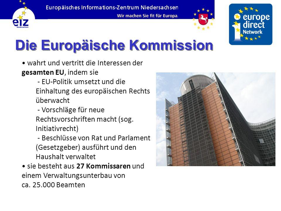 Die Europäische Kommission wahrt und vertritt die Interessen der gesamten EU, indem sie - EU-Politik umsetzt und die Einhaltung des europäischen Rechts überwacht - Vorschläge für neue Rechtsvorschriften macht (sog.