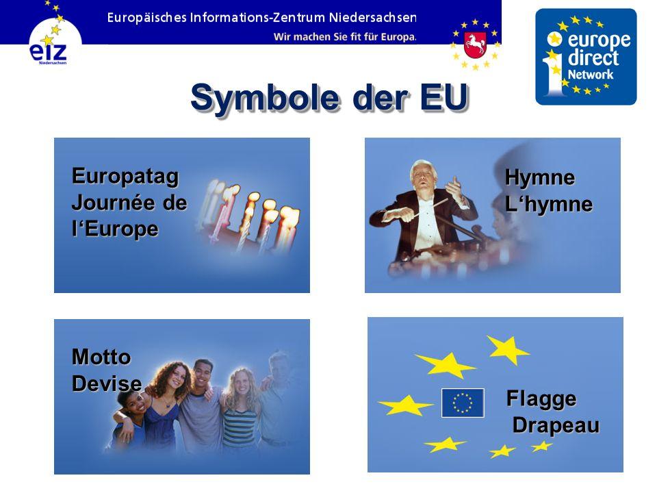 Symbole der EU Flagge Drapeau Hymne Lhymne Motto Devise Europatag Journée de lEurope