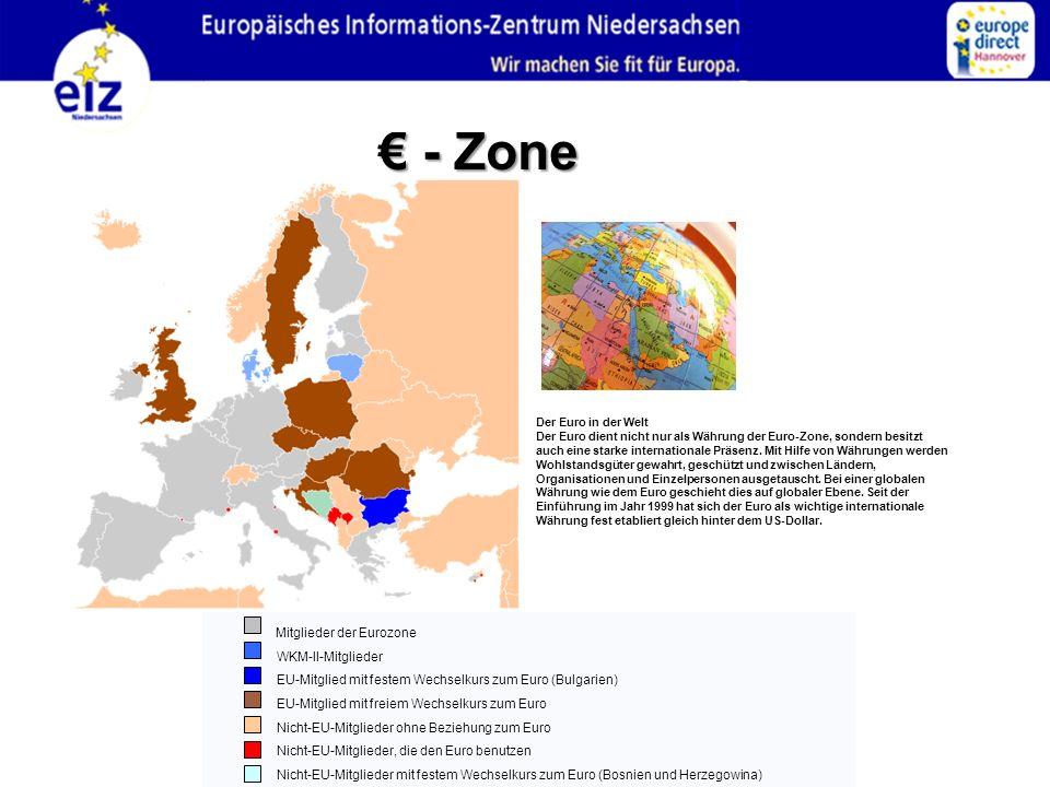 Der Euro in der Welt Der Euro dient nicht nur als Währung der Euro-Zone, sondern besitzt auch eine starke internationale Präsenz. Mit Hilfe von Währun