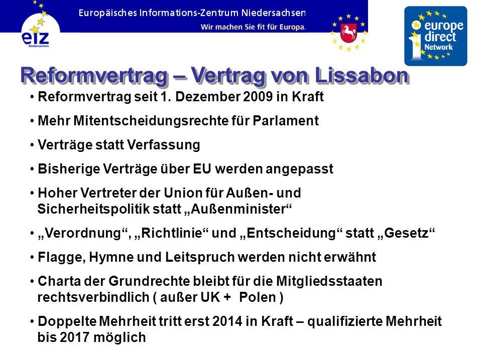 Reformvertrag – Vertrag von Lissabon Reformvertrag seit 1. Dezember 2009 in Kraft Mehr Mitentscheidungsrechte für Parlament Verträge statt Verfassung
