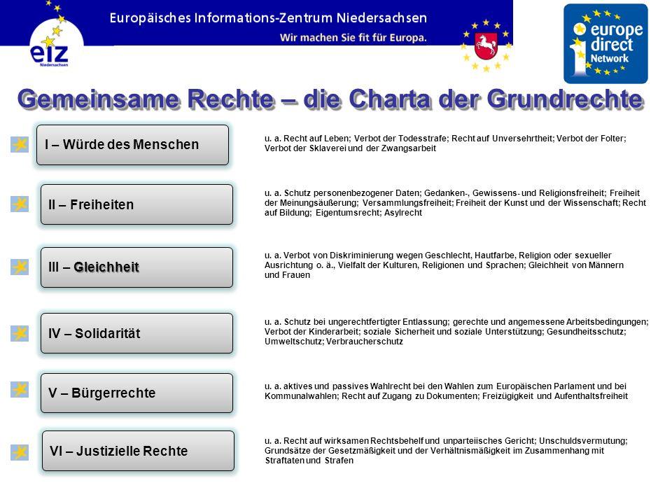 Gemeinsame Rechte – die Charta der Grundrechte VI – Justizielle Rechte V – Bürgerrechte IV – Solidarität III – Gleichheit II – Freiheiten I – Würde des Menschen u.