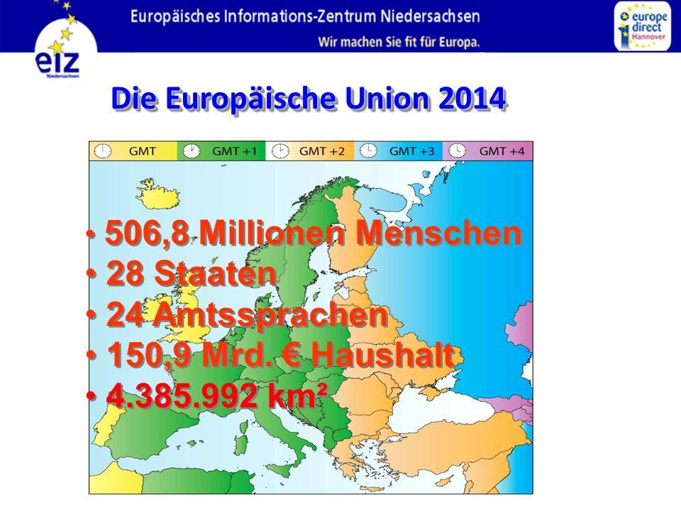 Die Europäische Union 2014 506,8 Millionen Menschen 28 Staaten 24 Amtssprachen 150,9 Mrd. Haushalt 4.385.992 km² 506,8 Millionen Menschen 28 Staaten 2