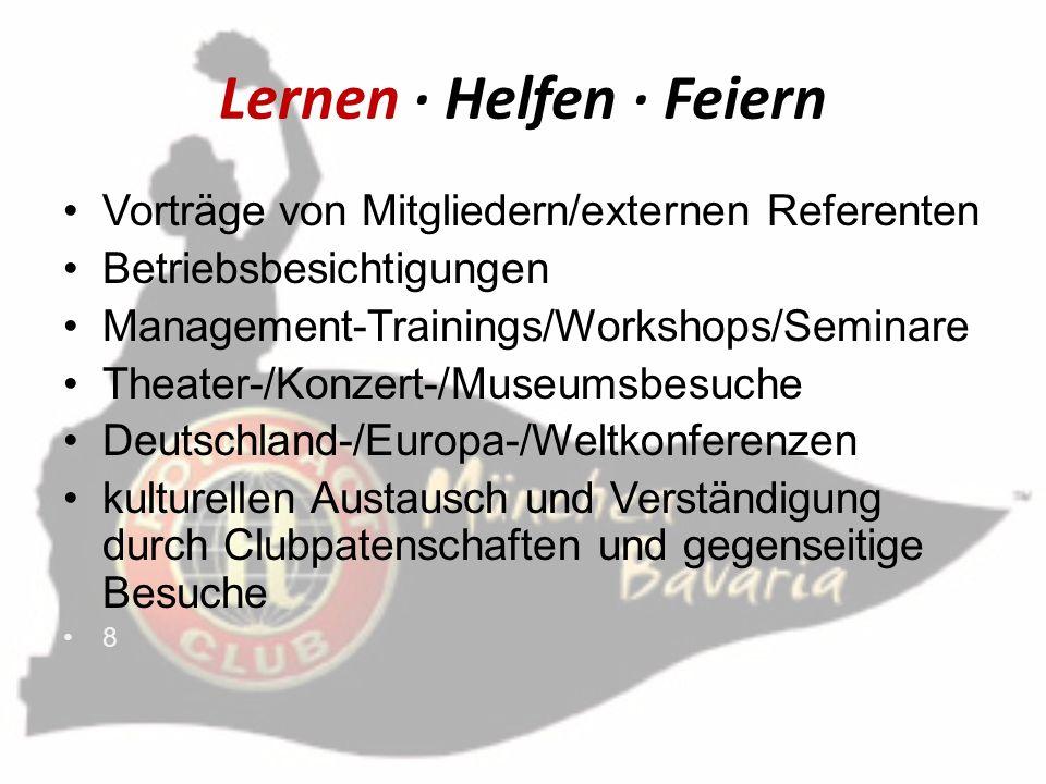 Lernen Helfen Feiern Vorträge von Mitgliedern/externen Referenten Betriebsbesichtigungen Management-Trainings/Workshops/Seminare Theater-/Konzert-/Mus