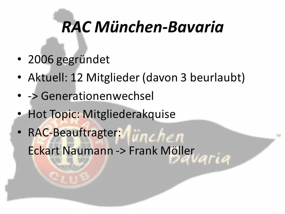 RAC München-Bavaria 2006 gegründet Aktuell: 12 Mitglieder (davon 3 beurlaubt) -> Generationenwechsel Hot Topic: Mitgliederakquise RAC-Beauftragter: Ec