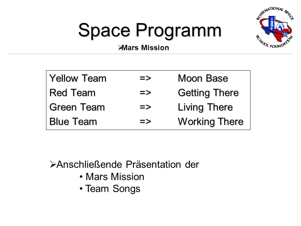 Yellow Team=> Moon Base Red Team=> Getting There Green Team=> Living There Blue Team=> Working There Space Programm Mars Mission Anschließende Präsentation der Mars Mission Team Songs
