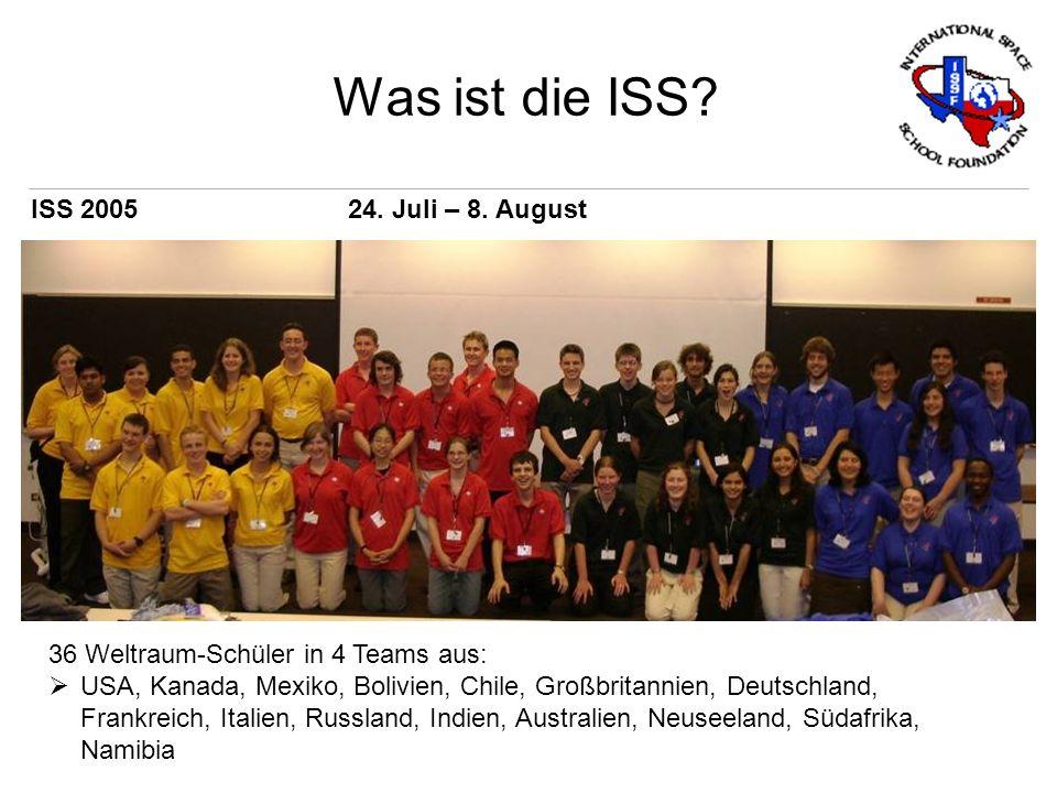 Was ist die ISS? 36 Weltraum-Schüler in 4 Teams aus: USA, Kanada, Mexiko, Bolivien, Chile, Großbritannien, Deutschland, Frankreich, Italien, Russland,