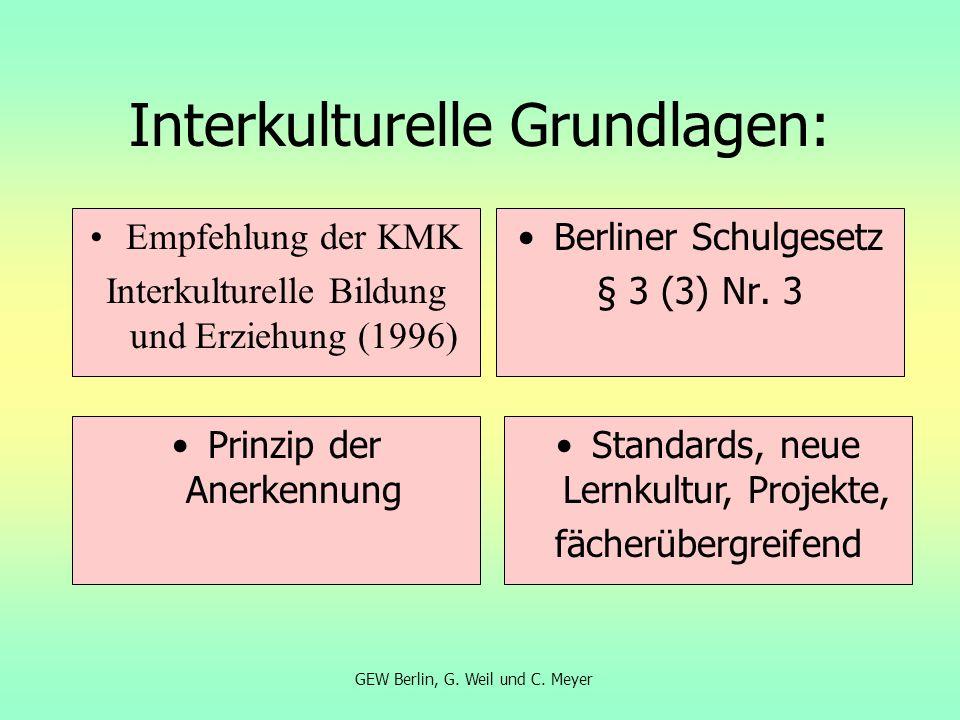 Interkulturelle Grundlagen: Empfehlung der KMK Interkulturelle Bildung und Erziehung (1996) Berliner Schulgesetz § 3 (3) Nr. 3 Prinzip der Anerkennung