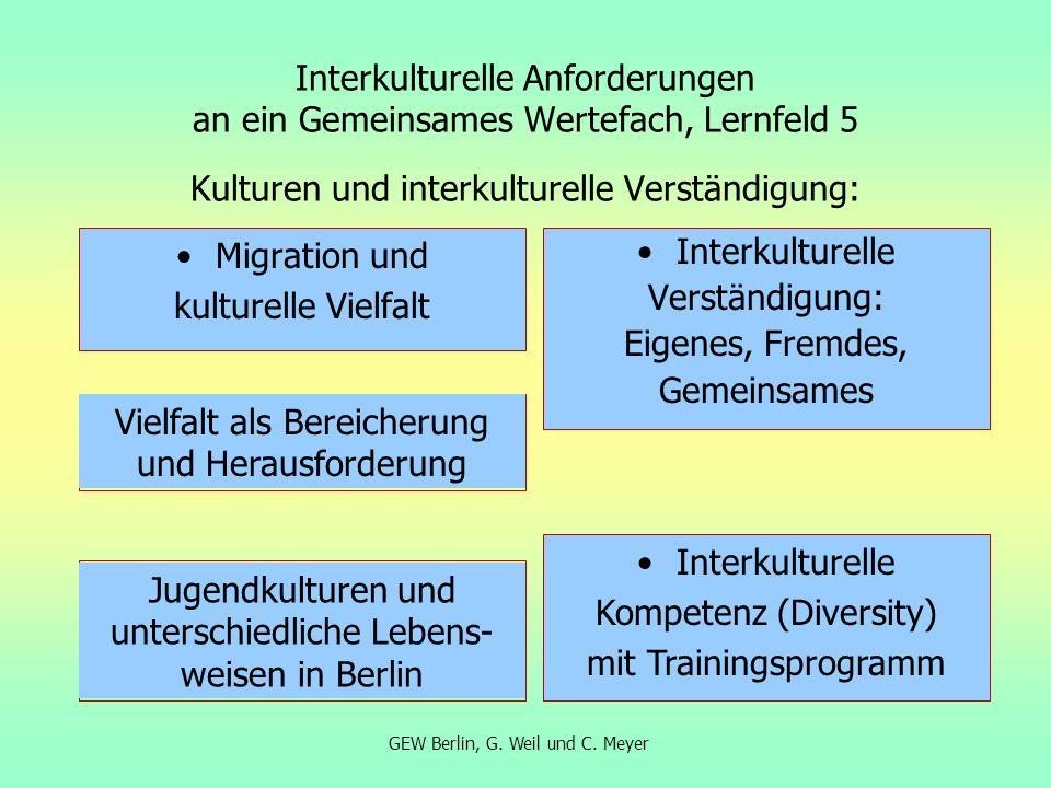 Interkulturelle Anforderungen an ein Gemeinsames Wertefach, Lernfeld 5 Kulturen und interkulturelle Verständigung: Migration und kulturelle Vielfalt I