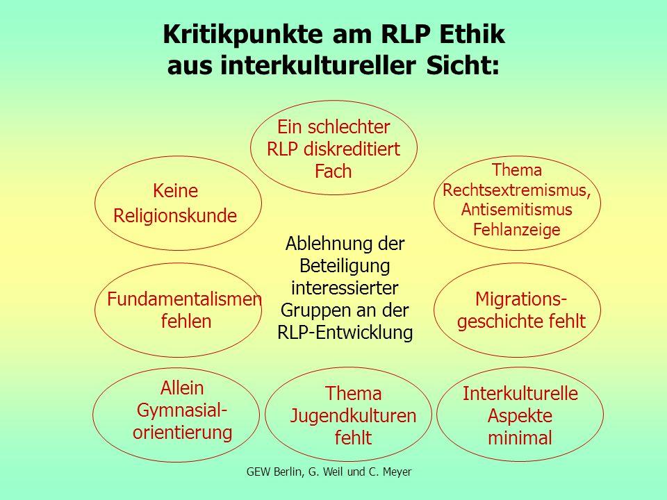 Kritikpunkte am RLP Ethik aus interkultureller Sicht: GEW Berlin, G. Weil und C. Meyer Keine Religionskunde Fundamentalismen fehlen Allein Gymnasial-