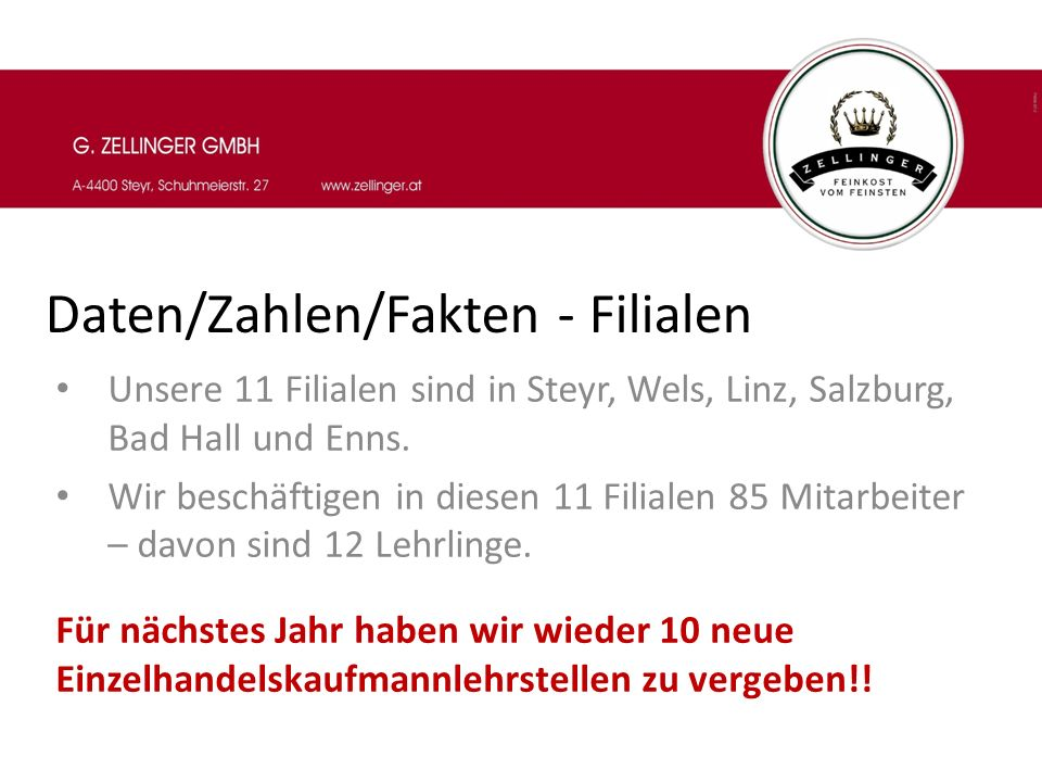 Daten/Zahlen/Fakten - Filialen Unsere 11 Filialen sind in Steyr, Wels, Linz, Salzburg, Bad Hall und Enns. Wir beschäftigen in diesen 11 Filialen 85 Mi