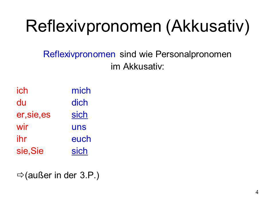 4 Reflexivpronomen (Akkusativ) Reflexivpronomen sind wie Personalpronomen im Akkusativ: ichmich dudich er,sie,essich wiruns ihreuch sie,Siesich (außer