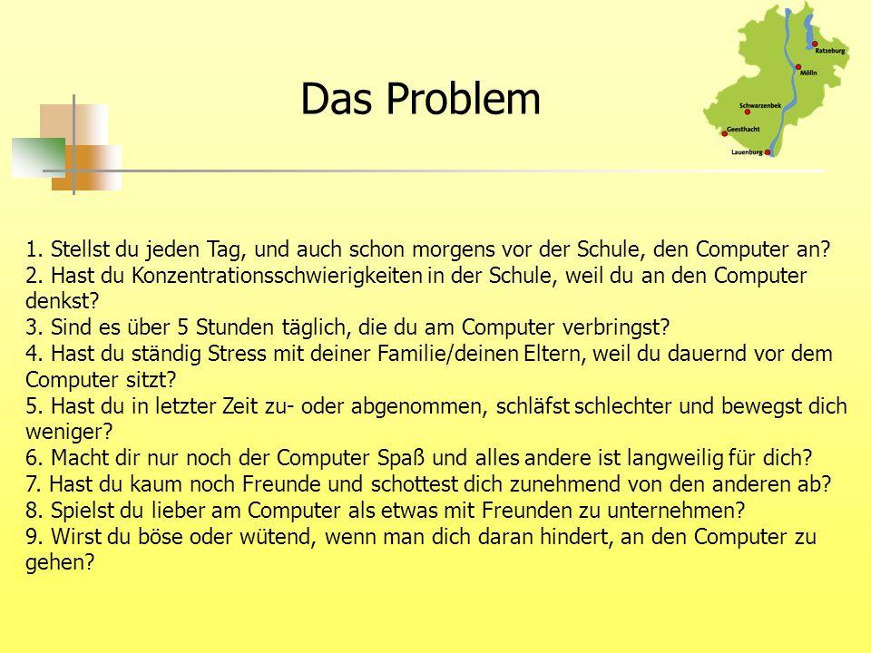 Das Problem 1. Stellst du jeden Tag, und auch schon morgens vor der Schule, den Computer an? 2. Hast du Konzentrationsschwierigkeiten in der Schule, w