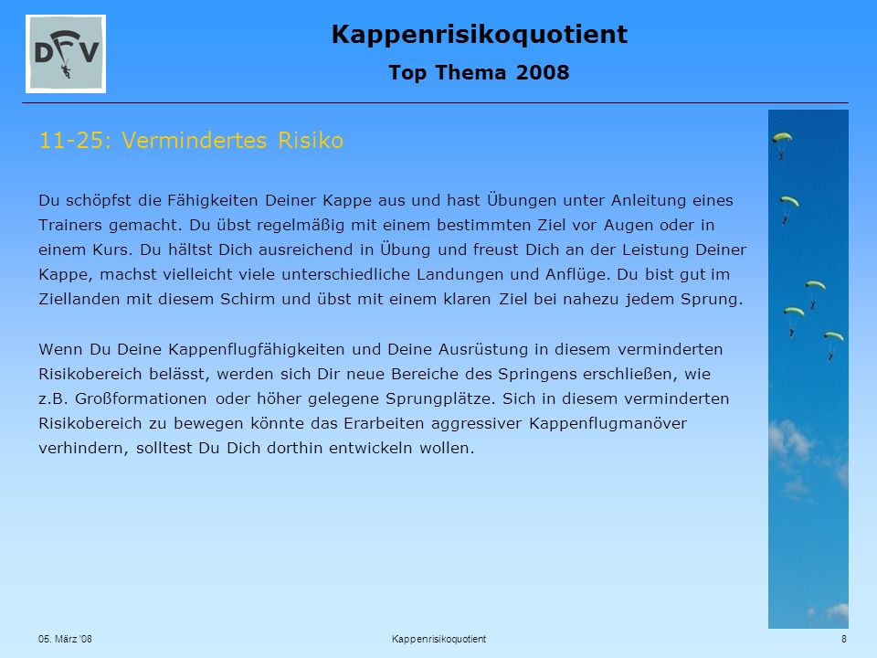 Kappenrisikoquotient Top Thema 2008 05.