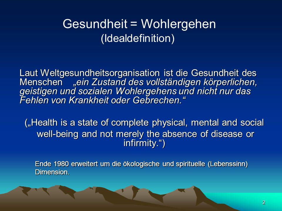 2 Laut Weltgesundheitsorganisation ist die Gesundheit des Menschen ein Zustand des vollständigen körperlichen, geistigen und sozialen Wohlergehens und