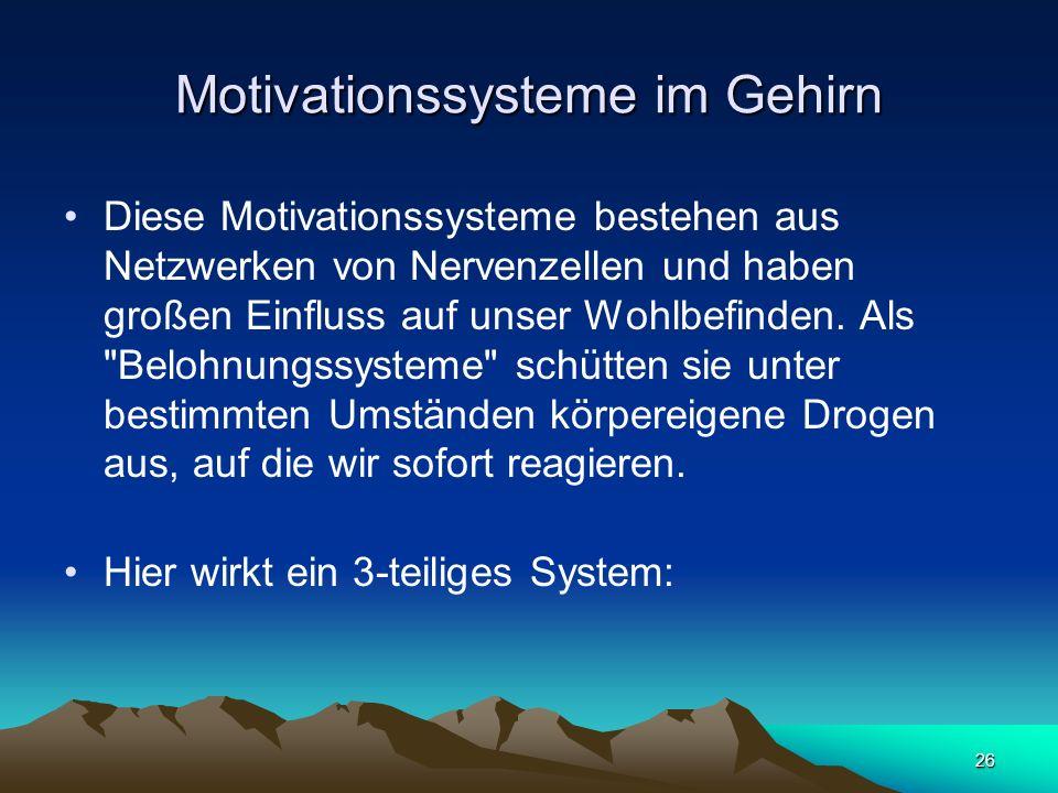 26 Motivationssysteme im Gehirn Diese Motivationssysteme bestehen aus Netzwerken von Nervenzellen und haben großen Einfluss auf unser Wohlbefinden. Al
