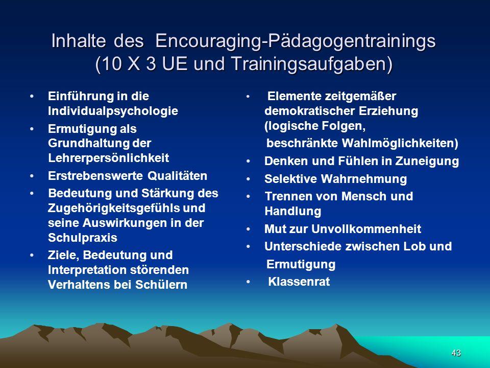 43 Inhalte des Encouraging-Pädagogentrainings (10 X 3 UE und Trainingsaufgaben) Einführung in die Individualpsychologie Ermutigung als Grundhaltung de