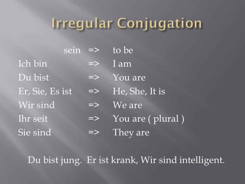 sein=> to be Ich bin=> I am Du bist=> You are Er, Sie, Es ist=> He, She, It is Wir sind=> We are Ihr seit=> You are ( plural ) Sie sind=> They are Du
