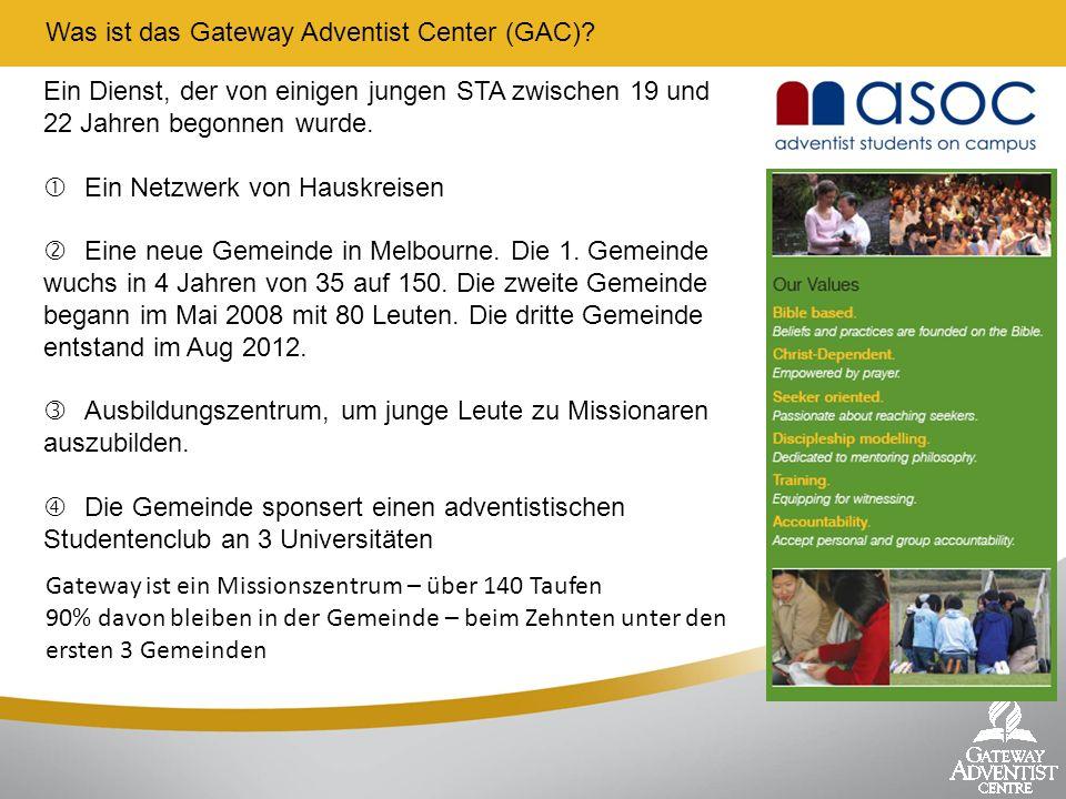 Was ist das Gateway Adventist Center (GAC)? Ein Dienst, der von einigen jungen STA zwischen 19 und 22 Jahren begonnen wurde. Ein Netzwerk von Hauskrei