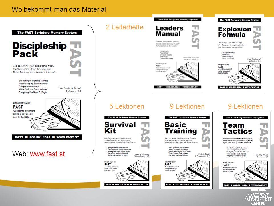 Wo bekommt man das Material 2 Leiterhefte 5 Lektionen9 Lektionen Web: www.fast.st