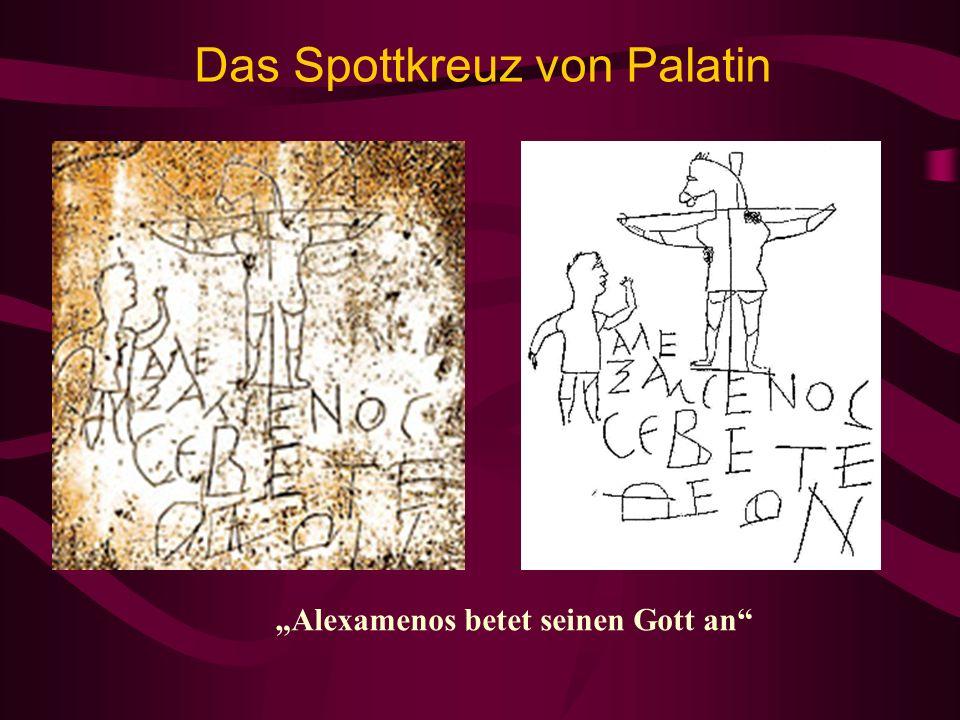 Das Spottkreuz von Palatin Alexamenos betet seinen Gott an
