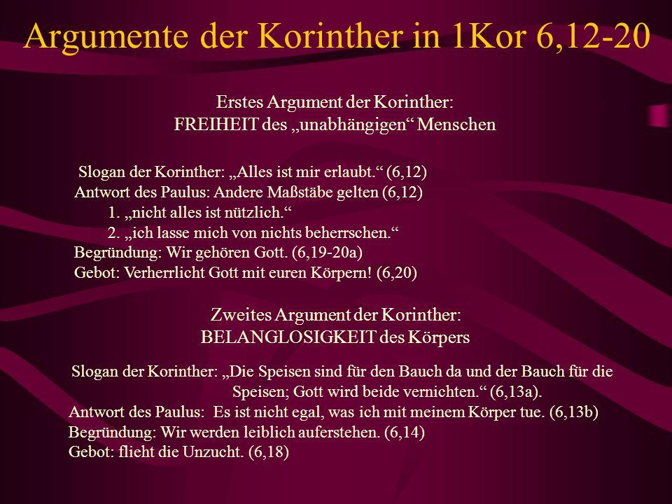 Argumente der Korinther in 1Kor 6,12-20 Erstes Argument der Korinther: FREIHEIT des unabhängigen Menschen Slogan der Korinther: Alles ist mir erlaubt.