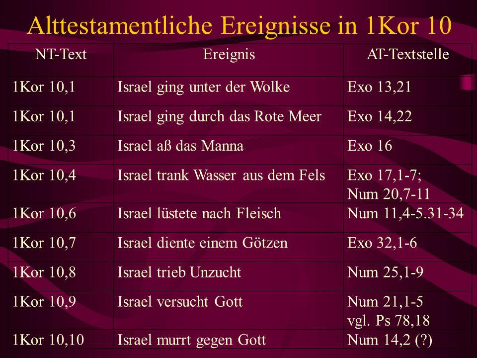 Alttestamentliche Ereignisse in 1Kor 10 NT-TextEreignisAT-Textstelle 1Kor 10,1Israel ging unter der WolkeExo 13,21 1Kor 10,1Israel ging durch das Rote